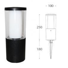 Carlo 250 mm Black Clear LED 3.5W Bollard Spike Light