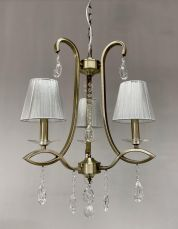 Darcey 3 Light Crystal Ceiling Light Antique with Shade