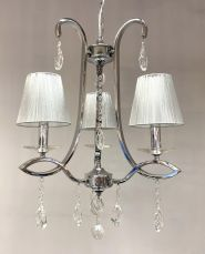 Darcey 3 Light Crystal Ceiling Light Polished Chrome with Shade
