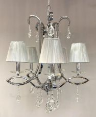 Darcey 5 Light Crystal Ceiling Light Antique with Shade