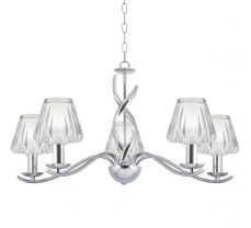 Helen Chrome 5 Light Ceiling Light With Cut Crystal Shades