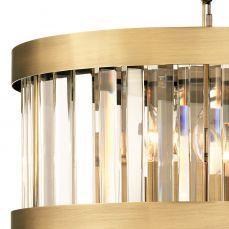 Pandora 3 Light Crystal Pendant Antique Brass Close