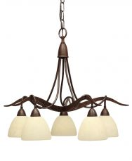 Paola 5 Light Ceiling Light with Scavo Cream Glass