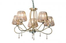 Senza 5 Light Antique Brass  with Amber Crystal Shade