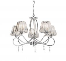 Senza 5 Light Polished Chrome with Crystal Shades